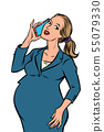 pregnant businesswoman talking on the phone 55079330