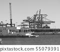 Dock cranes in Valencia, Spain. 55079391