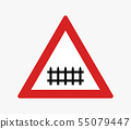 road sign icon level crossing 55079447