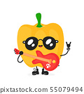 Cute happy smiling rock pepper with guitar 55079494