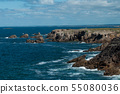 view of rocks beautiful cloudy sky background   55080036