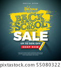 Back to School Sale Design with Typography Letter and Chalk on Chalkboard Background. Vector 55080322
