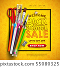 Back to School Sale Design with Colorful Pencil, Brush, Scissors and Typography Letter on Yellow 55080325