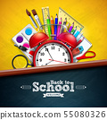Back to school design with alarm clock, colorful pencil, magnifying glass, scissors, ruler and 55080326
