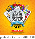 Back to School Sale Design with Colorful Pencil, Brush and Other Learning Items on Hand Drawn 55080338