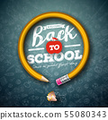 Back to school design with graphite pencil and typography lettering on black chalkboard background 55080343