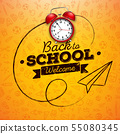 Back to school design with red alarm clock and typography on yellow background. Vector education 55080345