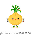 Cute happy smiling hippie onion character 55082566