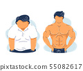 Fat obesity and strong fitness muscular man 55082617