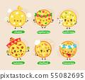 Cute happy pizza character set  55082695