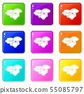 Mushrooms icons set 9 color collection 55085797
