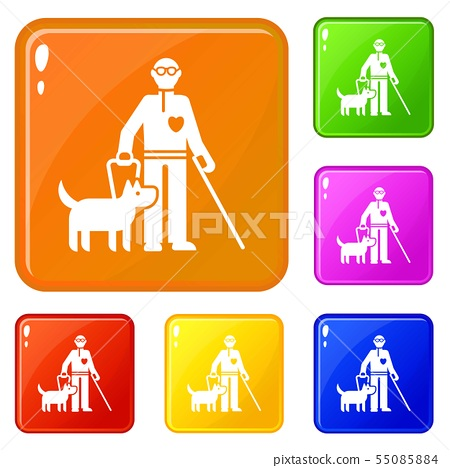 Invalid person with dog icons set vector color 55085884
