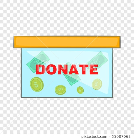 Coins in donate box icon, cartoon style 55087062