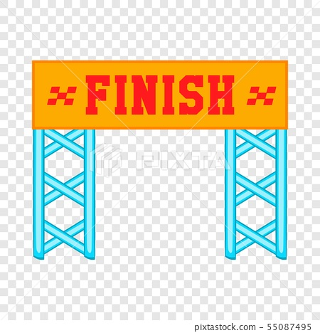 Finish race gate icon, cartoon style 55087495