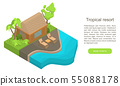 Tropical resort concept banner, isometric style 55088178