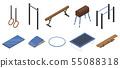 Gymnastics equipment icons set, isometric style 55088318