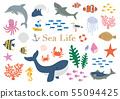 바다 생물 일러스트 세트 55094425
