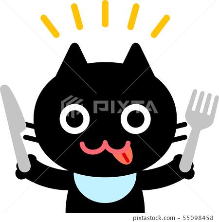 用刀子和叉子的貓字符 55098458