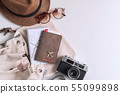Retro camera with travel accessories and items on 55099898