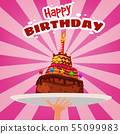 Happy birthday card with cake candle on dish dessert. Vector isolation cartoon style 55099983