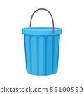 Round blue bucket. Vector illustration on white background. 55100559