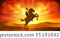 Cowboy Riding Horse Silhouette Sunset Background 55101692