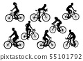 Bicycle Riding Bike Cyclists Silhouettes Set 55101792