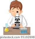 Young boy using microscope on the laboratory 55102698