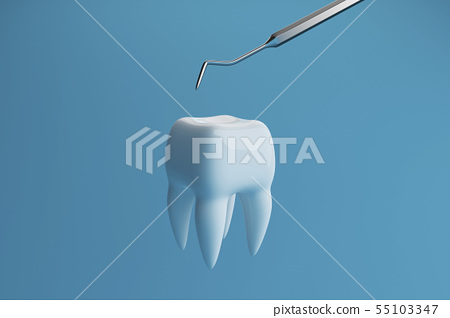 Image of a tooth on a blue background with a dentist tool. 3D rendering 55103347