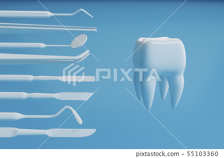 Image of a tooth on a blue background with a dentist's tools. 3D rendering. 55103360