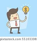 Businessman With Idea To Make Money. 55103398