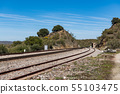 Oxidized railway tracks next to the abandoned Rio Tajo train station, near Garrovillas de Alconetar 55103475
