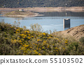 Tower of Floripes submerged in the water of the Tagus in the reservoir of Jose Maria Oriol near 55103502