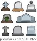 vector set of tombstone 55103927