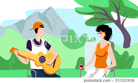 Man and Woman Spend Time Outdoors on Picnic, Camp 55103936