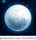 Full blue moon with stars at dark sky background. EPS 10 55103952