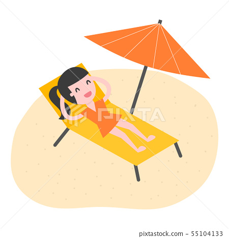 Young woman relaxing on the beach. 55104133