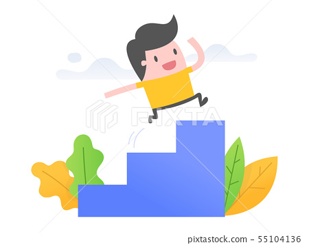 Young man running up stairs 55104136