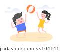 People play beach ball on the beach. 55104141