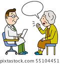의사와 건강 상태를 설명하는 환자 55104451