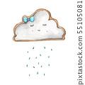 Cute rain cloud with rain drops. Watercolor 55105081
