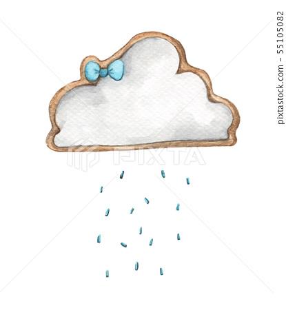 Cute rain cloud with rain drops. Watercolor 55105082