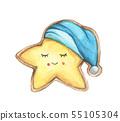 Smile face cookies star in nightcap. 55105304