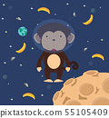 Astronaut monkey  in space flat design 55105409
