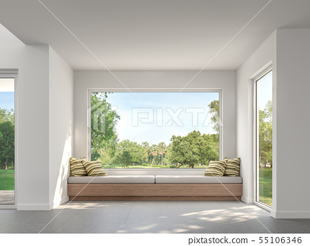 Modern living room with garden view  3d render 55106346