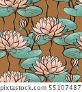 Seamless pattern with water lilies flowers Hand drawn floral surface design 55107487