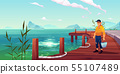 Fisherman on pier, seascape and hills background 55107489