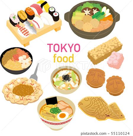 插圖素材:插圖素材:東京特產產品美食圖標集 55110124