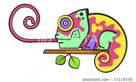 Chameleon Sitting On a Branch. Reptile Vector 55110556