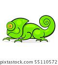 Chameleon Lizard Rainbow Color Cartoon Character 55110572